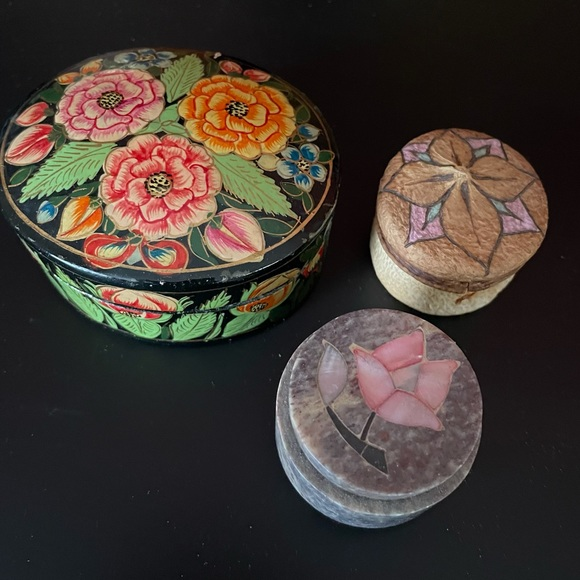 Bundle of 3  vintage trinket boxes hand crafted